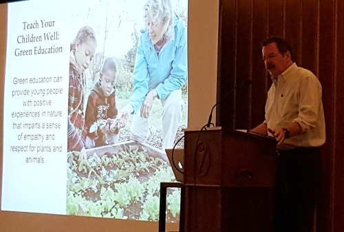 "Don Corrigan speaking at the event: ""Make a Bigger Difference: Environmental Action for Your Life, Your Community, and Your House of Worship."" Photo: Holly Shanks"