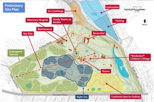 Graphic of preliminary site plan for changes to Grant's Farm. Saint Louis Zoo graphic