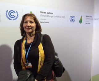 Dawn Reeves covering the United Nations Climate Conference in Paris. Photo provided by Dawn Reeves.