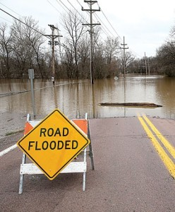 Water over the top of Marshall Road in Kirkwood. photo by Diana Linsley.