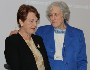 Dr. Helen Caldicott (left) and Kay Drey at the STLCC-Wildwood nuclear waste symposium held February 20. Photo by Holly Shanks.