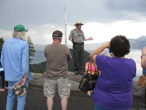Pictured: Brian Ettling, park ranger, teaches visitors about National Parks.