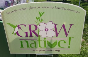 Sigh showcasing the Grow Native! program at the Kirkwood Earth Day Festival.