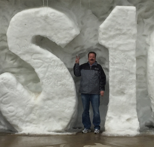Here's a closer look at Don wedged inside a snow sculpture.