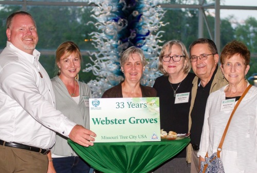 Representatives from the City of Webster Groves, a Tree City USA community for 33 years, enjoyed the anniversary celebration. Photo by MDC Staff, courtesy Missouri Department of Conservation.