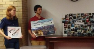 Activists Julia Eddy and Jonah Liebman show their support for protecting the Grand Canyon. Photo: Environment Missouri