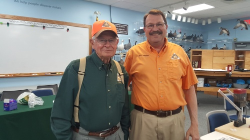 Len Patton (left) and Bob Campbell (right), Missouri Department of Conservation instructors, at the shotgun shell reloading seminar held at Jay Henges Shooting Range & Education Center, Feb. 21, 2017.